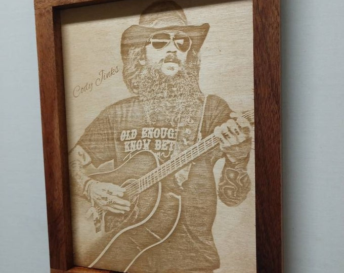 Cody Jinks Laser Art/ Texas Country/ Framed/ Country Music/ Wood Art/approximately 10 inches by 14 inches/ FREE SHIPPING