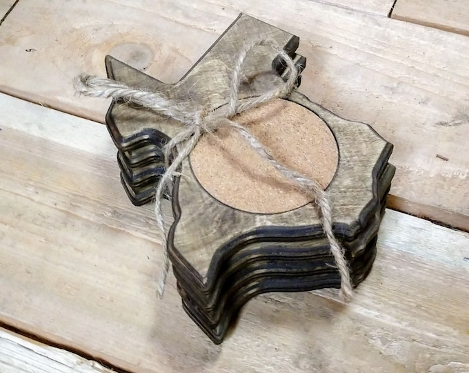Texas Coasters ,Set Of 4, Stained Dark Walnut, Handcrafted, Wood, made in Texas, FREE SHIPPING
