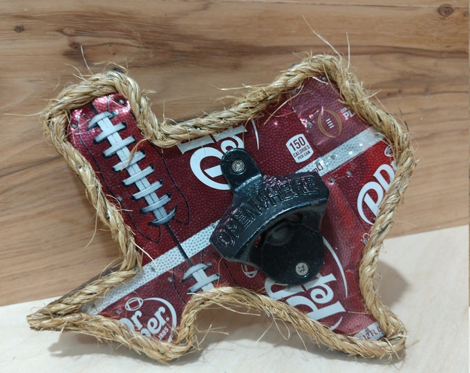 "Texas ""Dr. Pepper"" Bottle Opener/ Soda Can Art/ Handmade/ Unique Gifts/Man Cave Decor/Patio Decor/Garage Decor/FREE SHIPPING/Made in Texas"