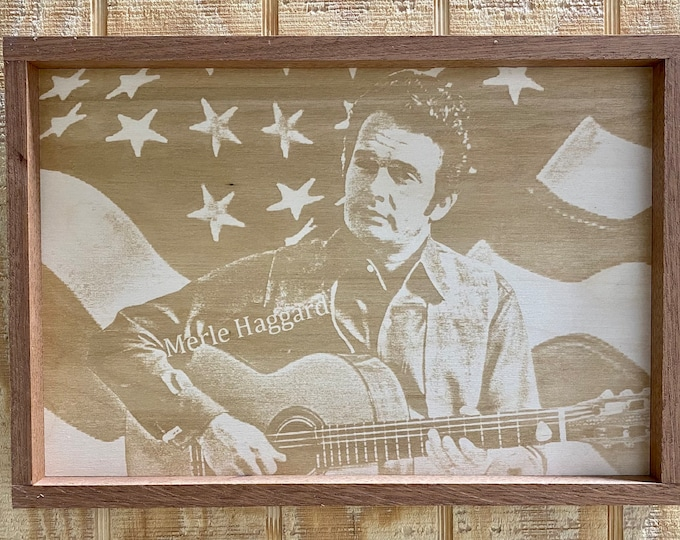 Merle Haggard Laser Print on Wood/Country Music/Mahogany Frame/Made in USA....... FREE SHIPPING