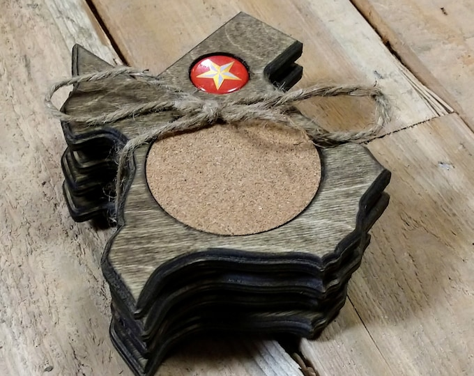 """Texas Coasters """"Lonestar"""" Bottle cap ,Set Of 4, Stained Dark Walnut, Handcrafted, Wood, MADE IN TEXAS/ Free shipping!!"""