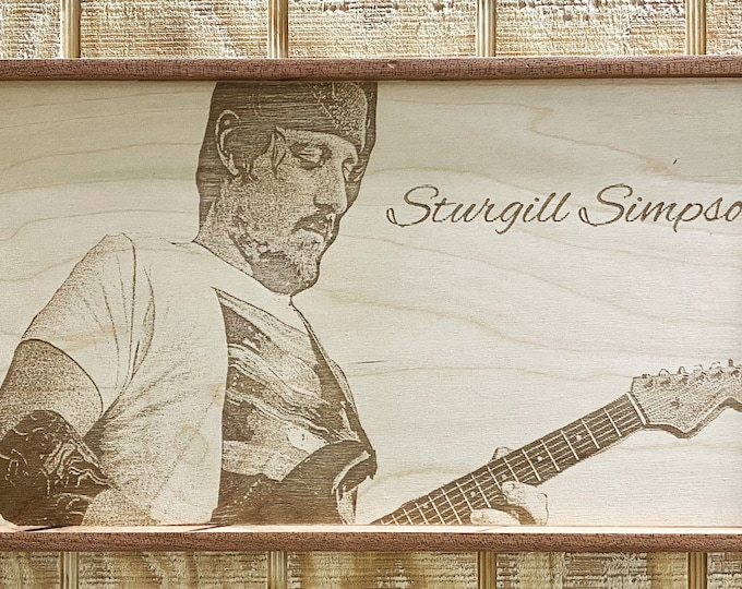Sturgill Simpson Laser Print, Wall Art,Wood,Mahogany Frame, Handmade, Music, Country Music, Made in Texas, FREE SHIPPING!!