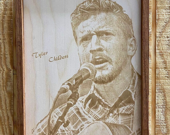 Tyler Childers Laser Print, Wall Art,Wood,Handmade, Music, Approximately 12x8 inches, Country Music, Made in Texas, FREE SHIPPING!!