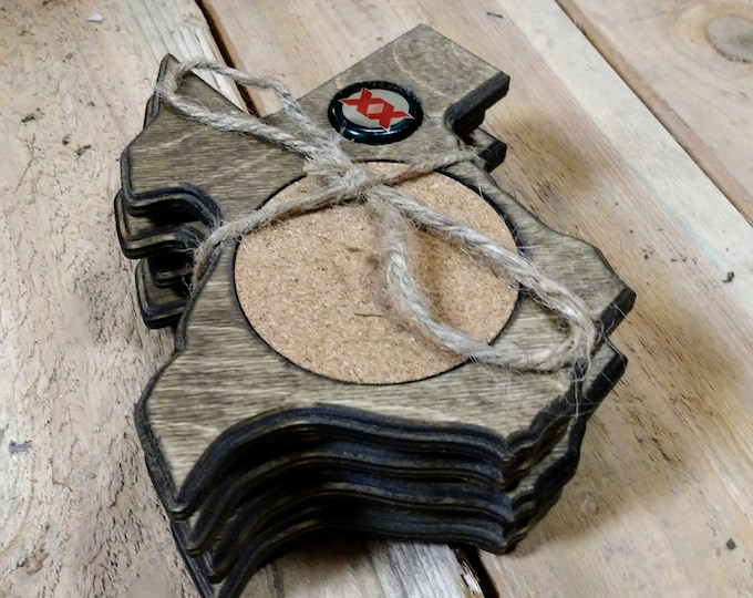 "Texas Coasters ""Dos Equis"" Bottle cap ,Set Of 4, Stained Dark Walnut, Handcrafted, Wood, MADE IN TEXAS, Free shipping!!!"
