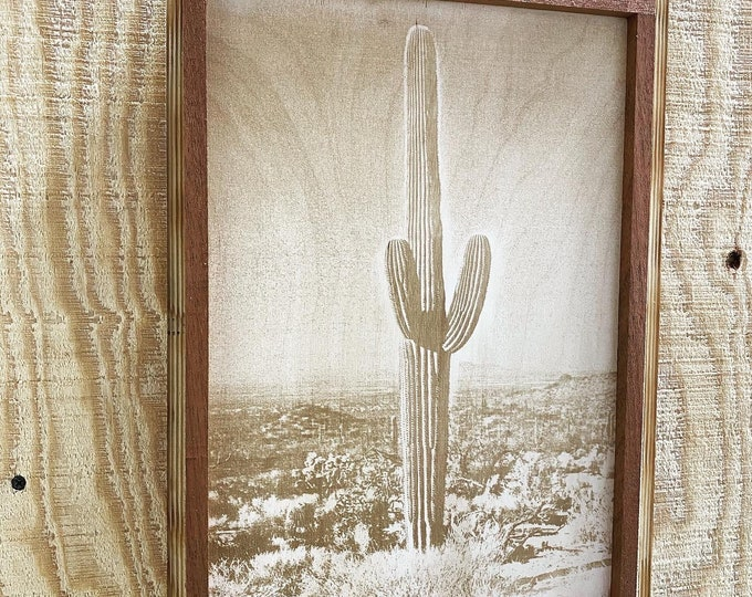 Cactus Desert laser print/western/framed/ FREE SHIPPING........made in the USA