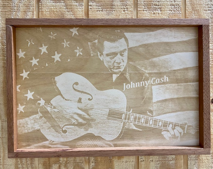 Johnny Cash Laser Print/Wood/Wall Art/Wall Hanging/Country Music/Made in USA..... FREE SHIPPING