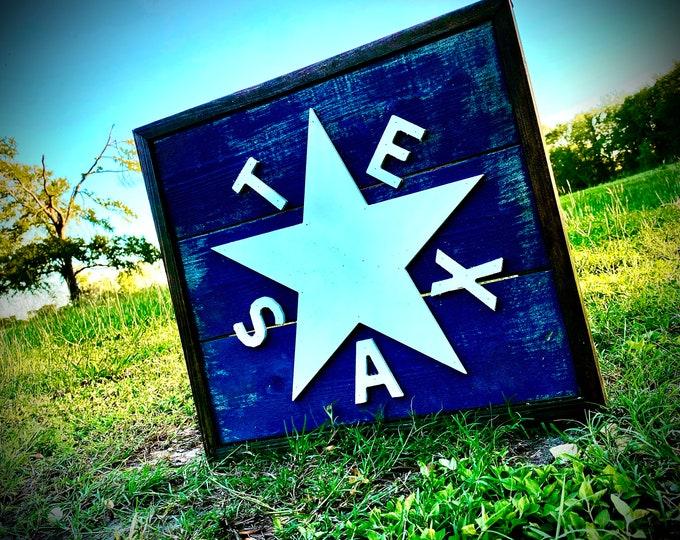 Distressed Zavala Texas Flag Wall Décor/Rustic Home Décor/ 12''x12'' .......... Free Shipping