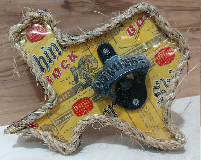 """Texas """"Shiner Bock"""" Bottle Opener/ Beer Can Art/ Handmade/ Unique Gifts/Man Cave Decor/Patio Decor/Garage Decor/FREE SHIPPING/Made in Texas"""