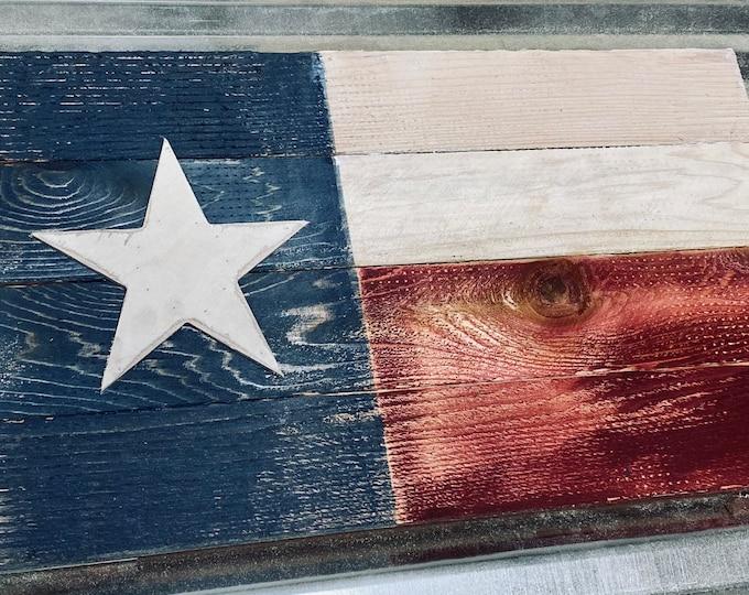 "Distressed Texas Wood Flag/Rustic/14""x24"" Free Shipping"