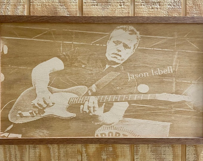 Jason Isbell laser print/ wood/ framed/ country music/ Made in USA....... Free shipping