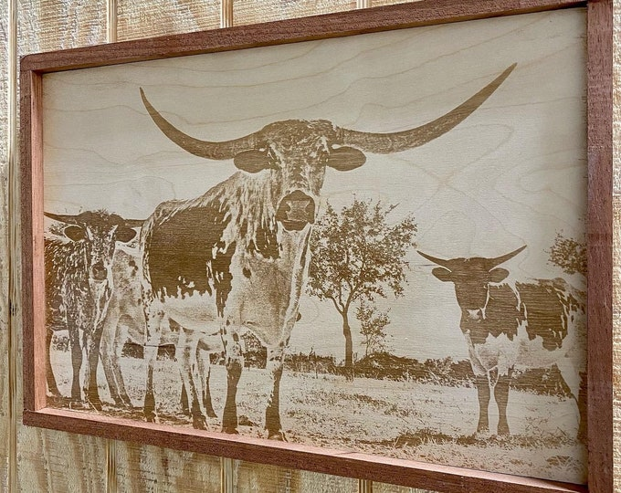 Texas Longhorn Laser print/Framed/ Laser etching photo on wood/FREE SHIPPING!!! Made in USA