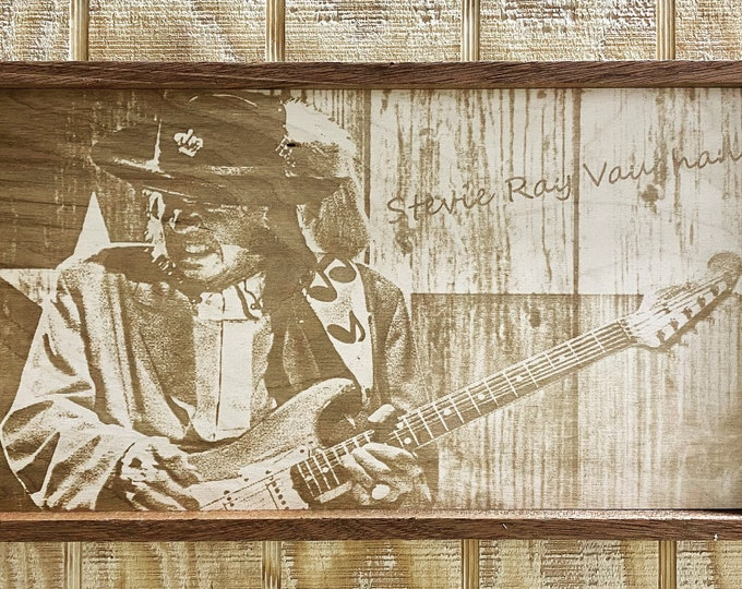 Stevie Ray Vaughan Laser Print/Wood/framed/blues/music/wall hanging/wall art/ Made in USA.... Free Shipping