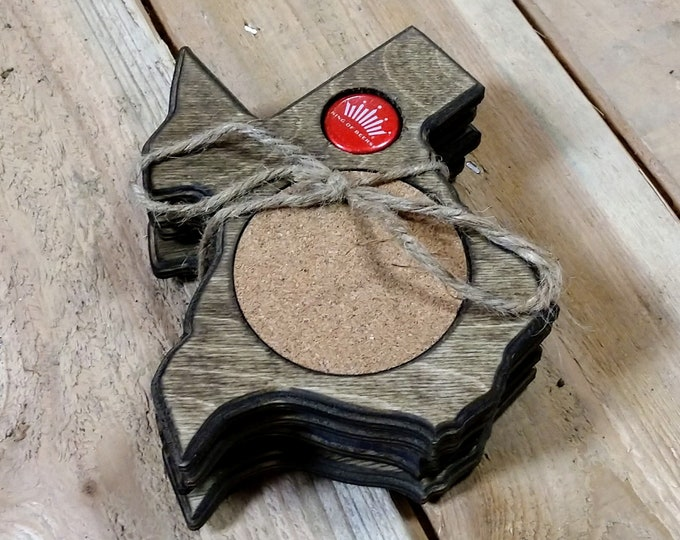 """Texas Coasters """"Budweiser"""" Bottle cap ,Set Of 4, Stained Dark Walnut, Handcrafted, Wood, MADE IN TEXAS, Free shipping!!!"""
