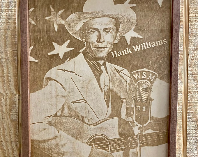 Hank Williams Laser Print/Framed/Wood/ Art/ Country Music/ Made in USA....... FREE SHIPPING