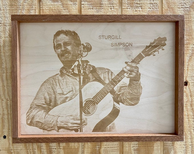 Sturgill Simpson Wood Laser Print/ Framed/ 18 inches by 11 inches/ Country Music/ Made in USA/ FREE SHIPPING