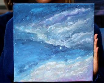 Blue Starry Sky - Original Painting Acrylic Gouache on Canvas 30x30cm