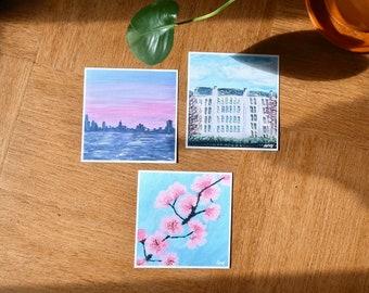 Set of 4 Prints 14x14cm Paris New York Spring