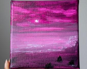 Beach Night Original Painting on canvas 12x12cm Gouache & Silver Acrylic