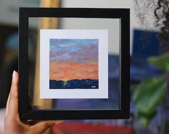 Mini Sunset Original Painting on paper 11x11cm