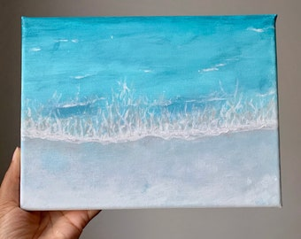 Turquoise water - Original Painting on canvas 18x24cm Acrylique Gouache, Varnished