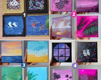 4 mini paintings to choose from 12x12cm canvases