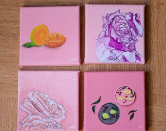 4 mini paintings on canvas - Roses & Fruits
