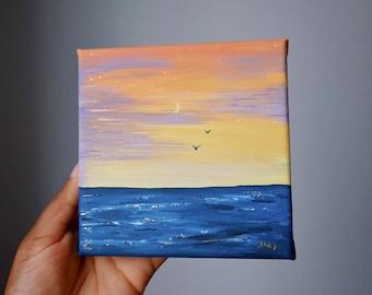 Sunset off the coast original painting gouache & acrylic gold 12x12cm