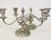 Vintage Heavy Ornate Silver Plated EP Brass Swirl Arm Candelabra - Two (2) Candlestick Holder - Aged Silver Metal Patina - Set of Two (2)
