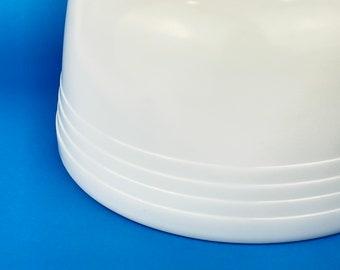 Vintage White Milk Glass Pyrex Mixing Bowl - Unnumbered - Hamilton Beach - Racine, Wisconsin - Ribbed Top Rim