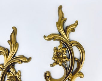 Vintage Syroco Plastic Hollywood Regency Gold Gilt Wall Sconce Candlestick Holders - Set of Two (2) - Made In USA