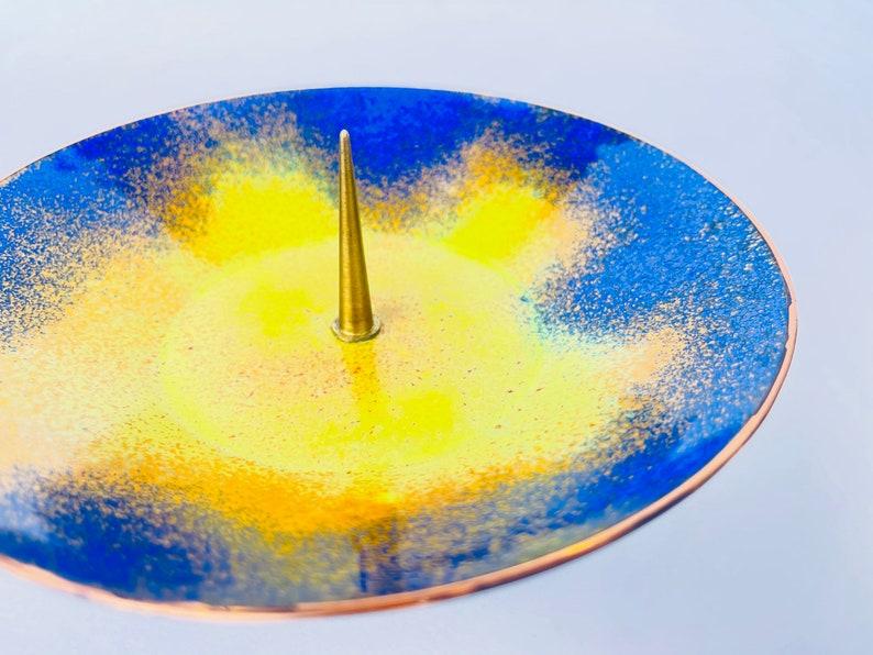 Orange Vintage EK Handarbeit Spike Blue Speckle Brass Candle Stick Holder Gold Patterned Rim Top Pedestal Yellow German