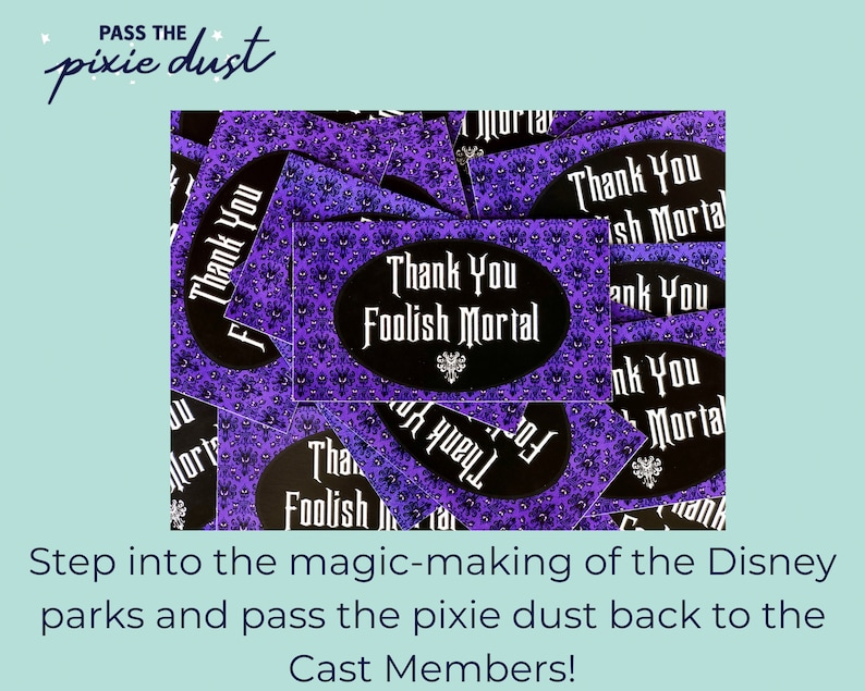 Set of 10 Haunted Mansion Inspired Disney Cast Member Thank You Cards