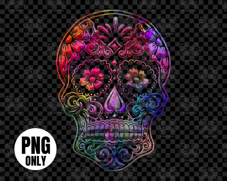 Colorful sugar skull png download Day of the dead skull image 0