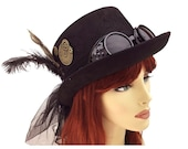 Halloween Costume Women Black Steampunk Hat with Goggle Festival Party Vintage Party