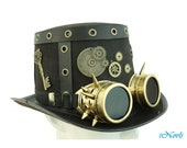 Halloween Costume Steampunk Top Hat Handmade Cosplay Party W Goggles and Keys