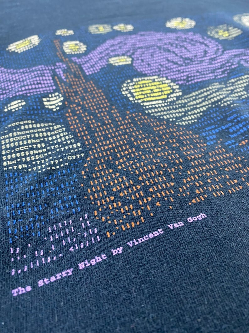 Vintage 90s 1998 the starry night by vincent van gogh artwork drawing parody computer number big image pop art picasso dali promo t-shirts