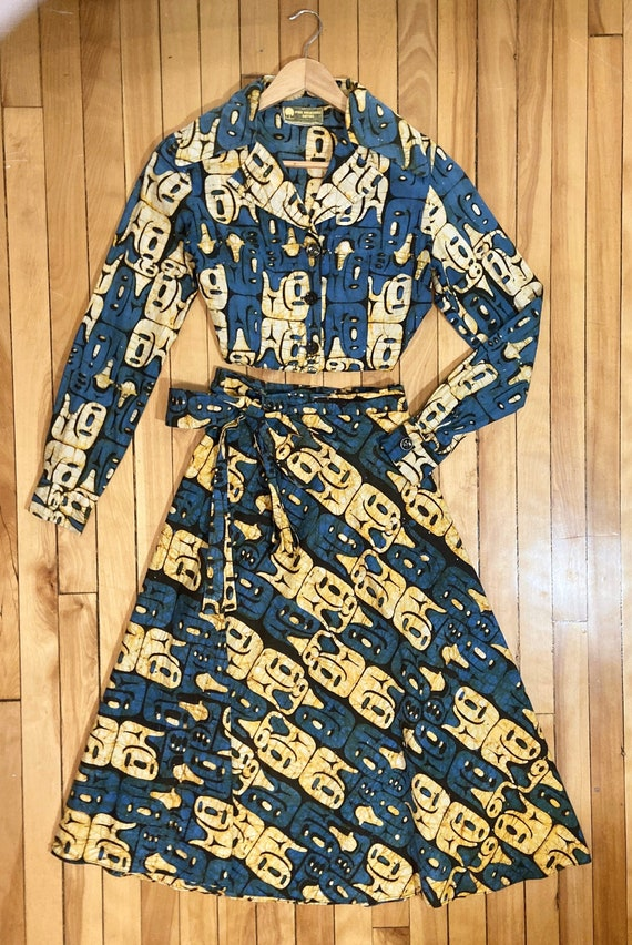Vintage 70s matching blouse and midi wrap skirt se