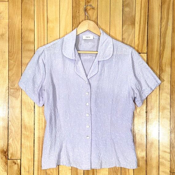 Vintage 90s light lavender pure silk floral blouse