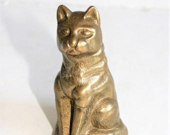 2 x Sitting Cat Miniture Brass figures cast in India