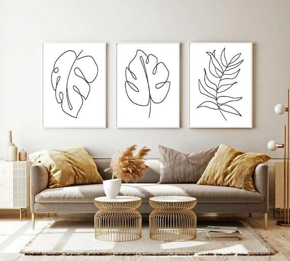 Set Of Three Wall Art Black And White Botanical Prints Etsy