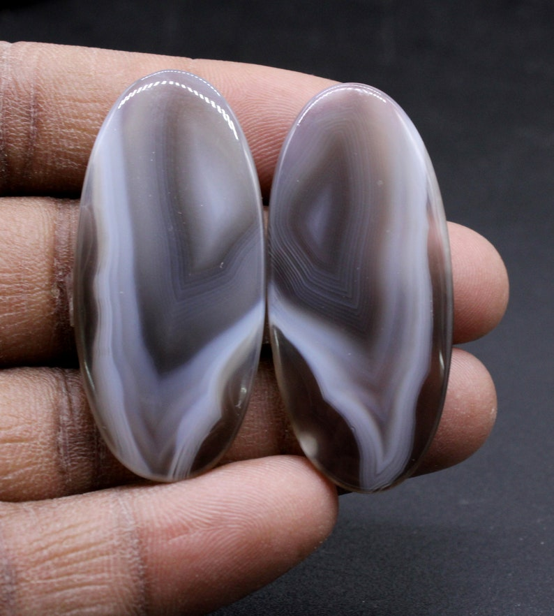Botswana Agate 65 Carat 42x19 mm Loose Gemstone Matched Pair For Making Jewelry 100/% Natural Botswana Agate Fancy Pair Cabochon
