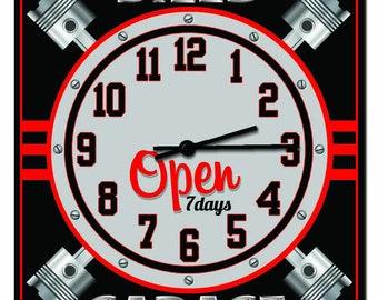 Hot Rod Garage Custom Car Collector Wall Clock Retro Wall Clock Auto Body Customized Hang Up 16 In Wall Clock Mechanic Garage Clock
