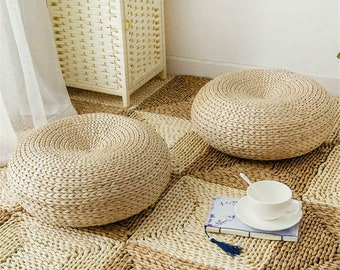 Handmade cattail straw floor cushion with colorful side coverstraw floor poufPouf ottomanKids giftmeditation cushionwedding gift
