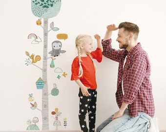 Cartoon Height Growth Chart Measure Ruler Vinyl Decal Kid Baby Wall Sticker DP