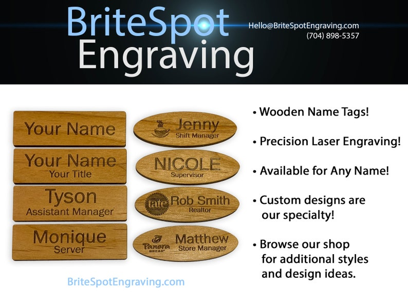 Custom Wooden Name Tags Personalized Laser Engraved Name Badges with Magnetic or Pin-Style Clasps from Brite Spot Engraving