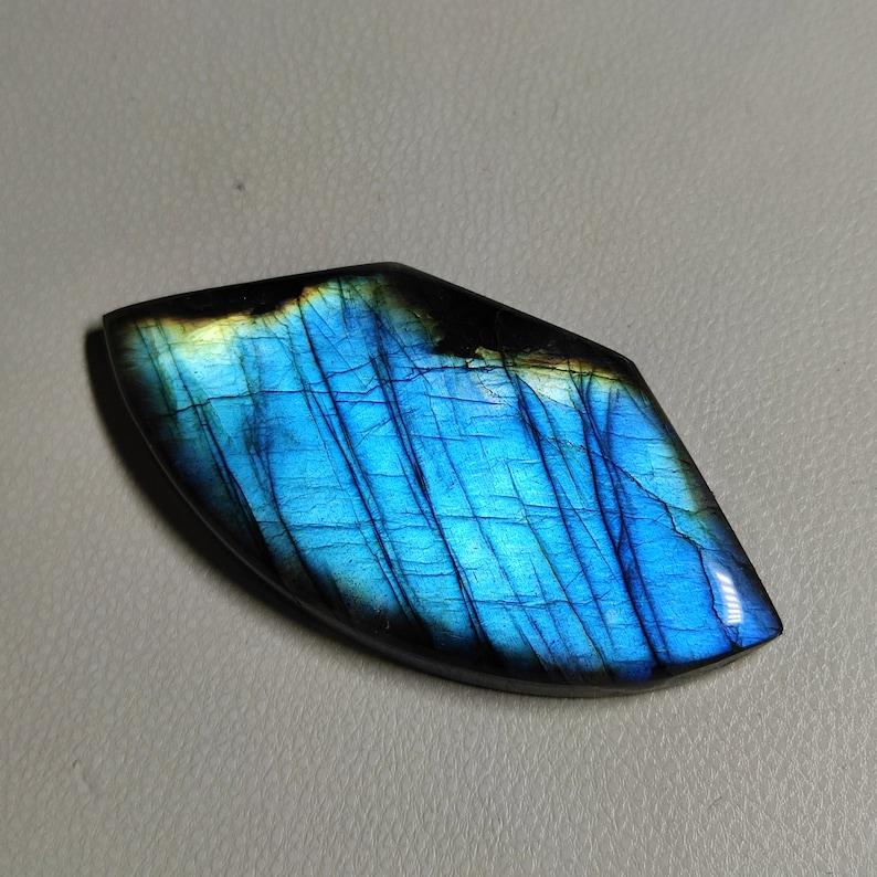 46X23X6 MM Fancy Shape Natural Blue Flashy Labradorite Cabochon 55 Carat Amazing Quality Labradorite Stone Smooth Polished Gemstone G2240