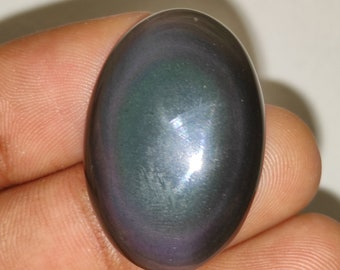 JJ3467. Natural Rainbow Obsidian Gemstone 59.35 Cts Smooth Cabochon Top Quality Beautiful Shiny Rainbow Obsidian Size 32X25X9.5 MM