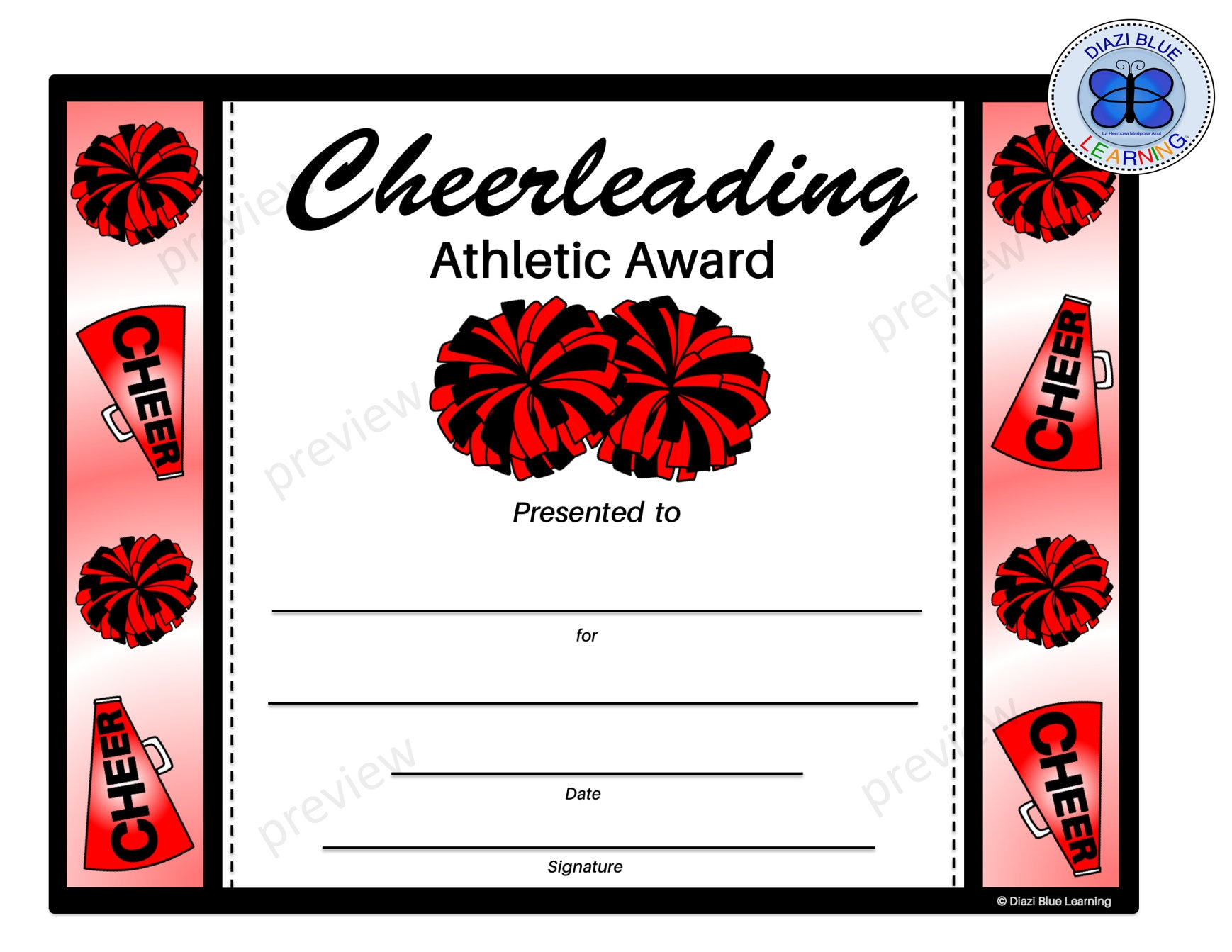 Cheerleading Certificate Cheerleading Award Editable Etsy