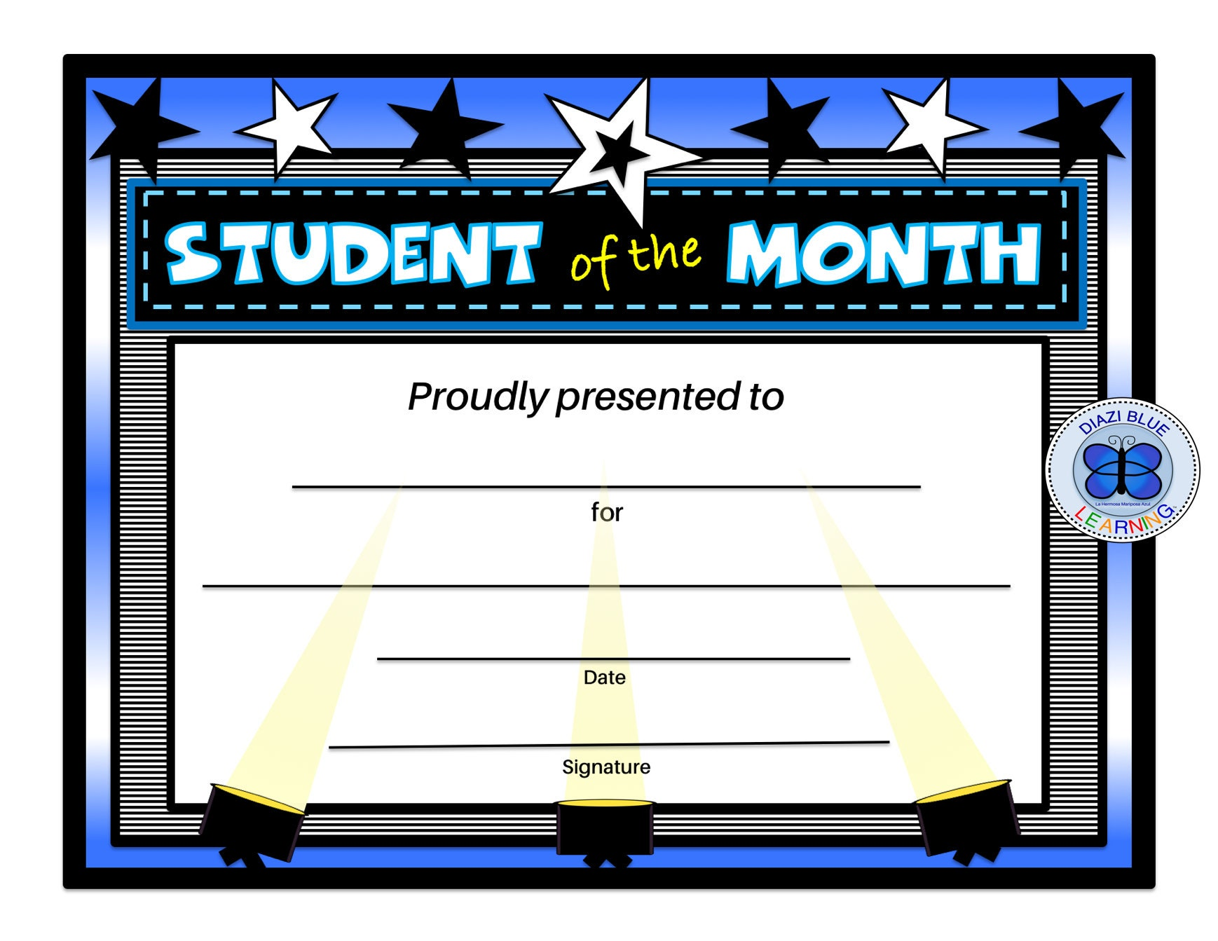 Student of the Month Certificate Editable PDF Student of the  Etsy Inside Free Printable Student Of The Month Certificate Templates