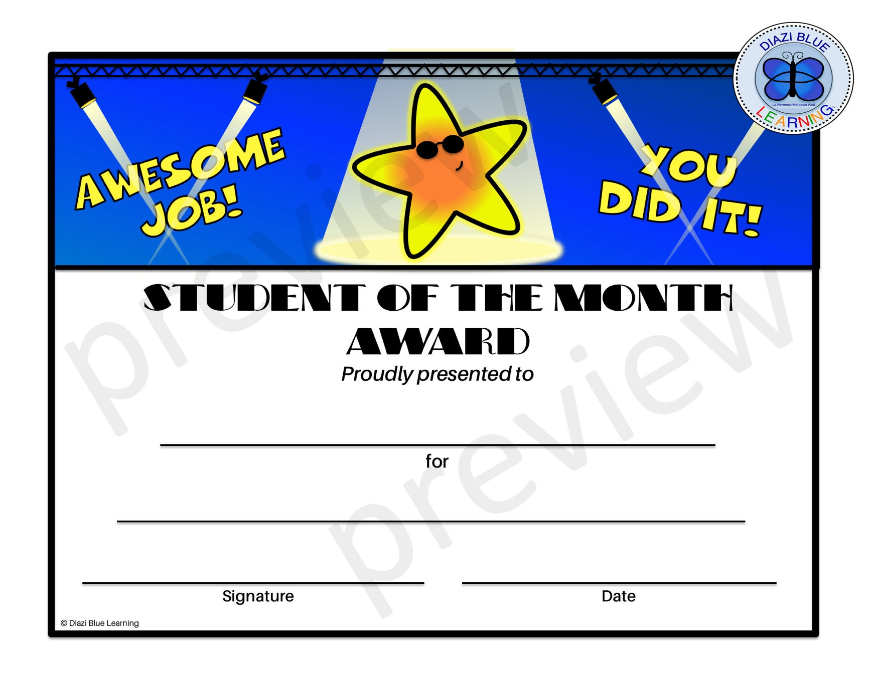 Student of the Month Certificate, Editable PDF Student of the Month Award,  Certificates, Printables, Classroom Certificates Within Free Printable Student Of The Month Certificate Templates
